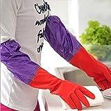 #8: Pindia 1pair Reusable Rubber Latex Multipurpose Household Kitchen Gloves