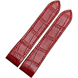 New 20mm RED WATCH LEATHER STRAP ALLIGATOR GRAIN BAND FIT CARTIER SANTOS 100