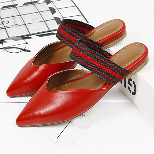 GJDE sandali di estate e ciabatte sandali le donne hanno indicato di massima con scarpe basse Red