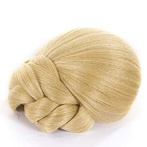 Chignon tressé blond doré á clips | Facile et rapide à clip | Chignon chic instantanée pour n'importe quelle longueur de cheveux