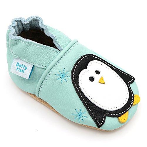 Dotty Fish Weiche Baby und Kleinkind Lederschuhe. Mintfarben mit Pinguin. Mädchen und Jungen. 6-12 Monate (19 EU)