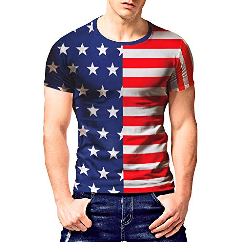 FRAUIT Druck Kurzarm Shirts Herren Amerikanische Flagge - hergestellt aus USA Herren T-Shirt