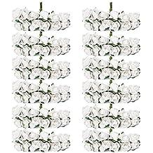 Aprox. 140piezas Mini papel flores rosas ramo de una fiesta Decor 1,5cm (color blanco)