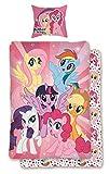 Familando Wende Bettwäsche Set My Little Pony, 135x200 cm 80x80 cm, 100% Baumwolle, Linon, rosa Einhörner Regenbogen