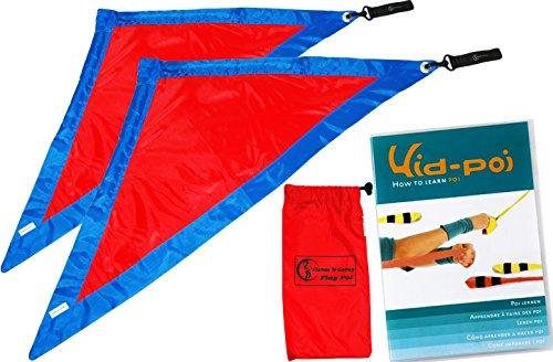 FLAG POI AKA Rhythm Flag - Stoff Poi Set (Blau/Rot) Flames N Games Für Kinder und Erwachsene Poi + Kid Poi DVD (in Deutsch) + Reisetasche. Swinging Poi und Spinning Pois! Pois für Anfänger und Profis. Spinning-dvd-set