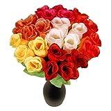 S/O 72er Pack Hecken Rosen bunt 26cm 6 Farben Kunstblumen Seidenblumen Bunte Rose