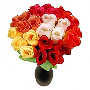 S/o 96er Pack siepi Rose multicolore 26cm 6colori Fiori Artificiali seta fiori colorati Rose