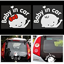 """Pegatina de vinilo para coche, diseño de bebé con texto en inglés """"Baby on board"""""""