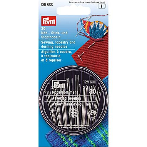 Prym 128600 Näh-Stick-Stopfnadelsortiment Handnähnadeln, Metall, blau, One Size