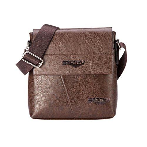 LHWY Männer Fashion Business Handtasche Vintage Kunstleder Schultertasche Tote Flap Bag Brust Bote Tasche Schwarz Braun (7.7