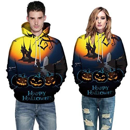 Halloween Kostüme Für Frauen Männer Paare 3D Druck Langarm Hoodies Sweatshirt Herbst Winter Halloween 35 B 4XL (Trick Or Treat Kostüme Für Paare)