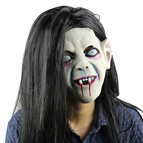 (Eizur Gruselig Scary Halloween Kopfmaske Latex Horror Head Maske Toothy Sadako Zombie Geist mit Langes Haar Horrormaske Geistermaske Karneval Kostüm Cosplay Requisiten für Fasching Partei Abendkleid)