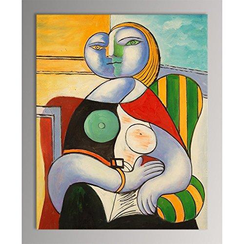 Donna che legge quadro dipinto ad olio a mano su tela montata su telaio estetico