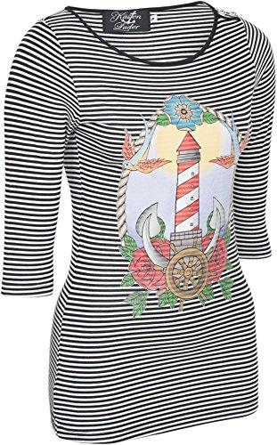 Küstenluder LIGHTHOUSE Leuchtturm Oldschool Sailor Streifen 3/4 Arm SHIRT Rocka -