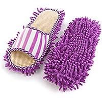 MENGZHEN 1 Paar Reinigungshaus-Hausschuhe Abnehmbare Wischschuhe waschbar Hausbodenreinigung Faule Hausschuhe, Korallenvlies, violett, 27 * 11cm