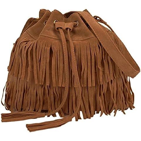 Tongshi Mensajero de las mujeres de la borla de las mujeres de la manera ocasional Bolsas sólido con cordón bolsas de hombro