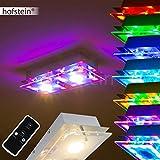 Längliche Deckenleuchte Severn mit RGB-LED Farbwechsler aus Metall für Wohnzimmer - Schlafzimmer - Flur - mit der Fernbedienung ist eine gezielte Farbauswahl der farbigen LEDs möglich