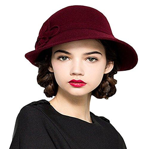 Maitose® Damen Wollfilz Blumen Kirche Bowler Hats Wine Red (Red Bowler Hut Kostüm)