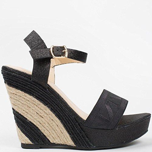 Ideal-Shoes Sandali compensate effetto glitterato Evanna Nero (nero)