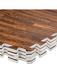ASAB - Alfombrillas entrelazables para protección del suelo (8 x 60 x 60cm, 4 unidades, espuma EVA), ideal para práctica de ejercicio y yoga, Dark Wood