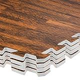 Ineinandergreifende Schaumstoff-Fliesen/ EVA-Bodenmatten inklusive Kanten,auch toll als Spielmatte für Kinder, Bodenbelag-Set, Dunkles Holz, 1 Pack (4 Floor Mats)60x60cm