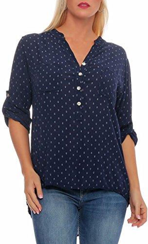 malito Damen Bluse mit Anker Print | Tunika mit ¾ Armen | Blusenshirt auch langarm tragbar | Elegant – Shirt 9013 (dunkelblau) (Befestigt Bluse)