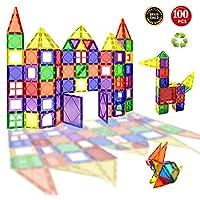 Children Hub 100pcs Magnetic Tiles Set - Building Construction Kit Toys For Your Kids (Stronger Magnets)