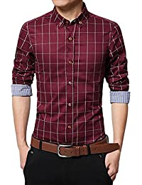 BUSIM Men's Long Sleeve Shirt Slim Buttons Classic Plaid Printed Lapel Workwear T-Shirt Personality Social Tops...