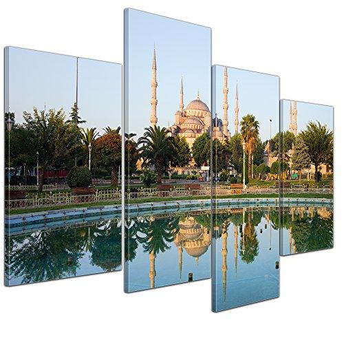 Kunstdruck - Sultan-Ahmet-Moschee in Istanbul - Türkei - Bild auf Leinwand - 120x80 cm 4 teilig - Leinwandbilder - Bilder als Leinwanddruck - Wandbild von Bilderdepot24 - Städte & Kulturen - Architektur - Blaue Maschee - Islam - Minarette