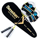 Senston Carbon Badminton Set,Badmintonschläger .Inklusive 2 Schläger und Schlägertasche.