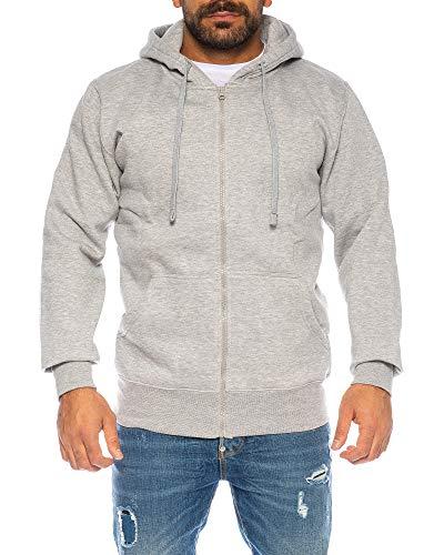 Premium Basic Zip (Raff & Taff Herren Hoodies Kapuzenpullover Sweatjacke Jacke Basic Schlicht bis 6XL (Light Grey, XXL))