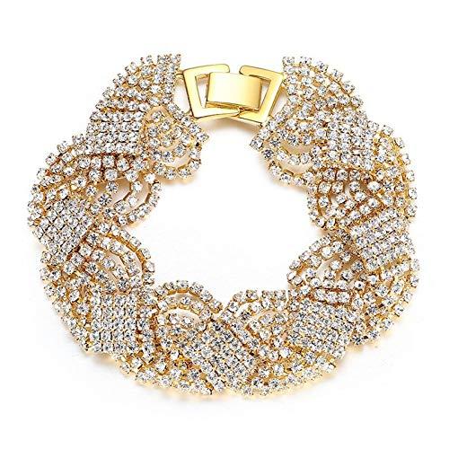 HUSHOUZHUO Gold/Silber Farbe Armbänder Für Frauen Kristall Strass Tennis Chain Link Armbänder Armreifen Hochzeit Brautschmuck