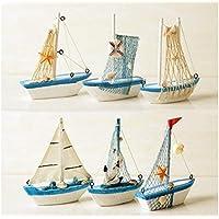 TiooDre Vela Decoraciã³n -Wooden Nave Modelo de Madera MiniatureMarine Barco Azul de Madera del velero Nã¡Uticos Decoraciã³n para el hogar Manualidades (S: 11,5 * 3.12.5 cm)