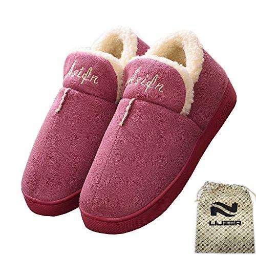 Indoor Home Hausschuhe Cotton Slippers Winter Cozy Memory Schaum Warm Anti-Rutsch Verschleiß-resistenten Wolle Drag Lijeer, Größe EUR37-38=(CN38-39), Farbe