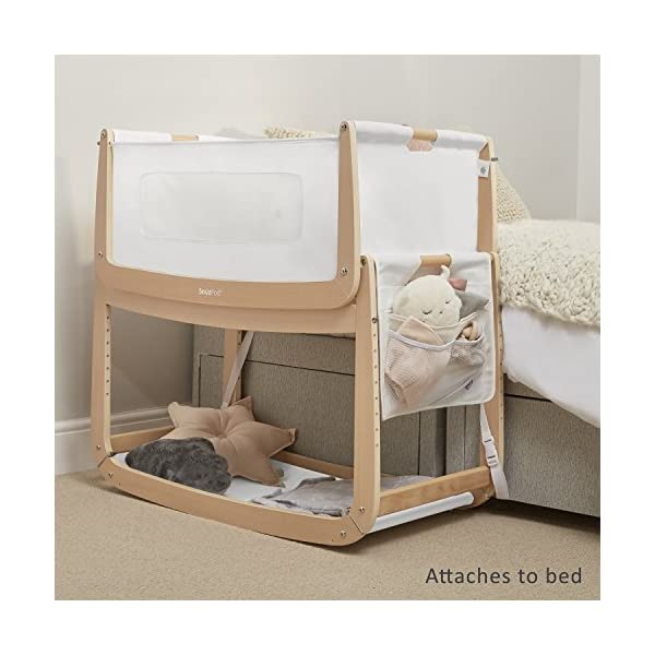 SnuzPod 3 Bedside Crib - Natural Snuz SnuzPod 3 has added functionality, a lighter bassinet and a more breathable sleeping environment. More than just a bedside crib; use as a bedside crib, stand alone crib or moses basket/bassinet. Simply attach the crib to your bed using straps provided (fits frame and divan beds) and your ready use as a bedside crib. The 9 different height settings allow you to ensure the crib is the right height for your bed (31-63cm) New! SnuzPod 3 now comes with an optional reflux function, by tilting the crib and setting an incline to reduce reflux symptoms little one can get a better nights sleep. 7