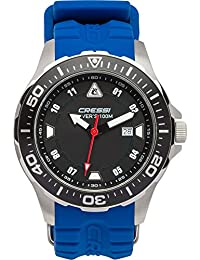 Cressi Manta Reloj Submarino, Unisex Adulto, Plata/Negro/Azul, U