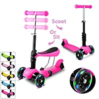 WeSkate Scooter for Kids Toddlers 3-in-1, Adjustable 3 Wheels Kick Scooter with Removable & Adjustable Seat, LED Light up Wheels for Boys Girls Age 2-6, Support 110Lbs