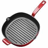Bistecca per bistecca Piatto teglia a righe Piano cottura a induzione Antiaderente Senza fumo 10 pollici di diametro Quadrato Ferro di alta qualità Tegami (Color : Red)