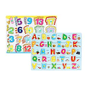 FabSeasons Colorful Wooden Alphabets (A-Z) & Numbers (1-20) Blocks / Puzzle for Kids