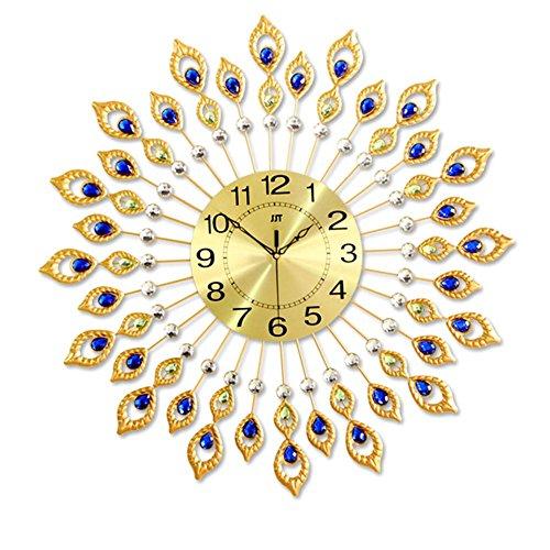 Kreative Eisen Wanduhr Pfau Diamant Stille Nicht ticking Mode Metall Wohnzimmer Wanduhr Home Kunst Dekoration , 1513 tuba