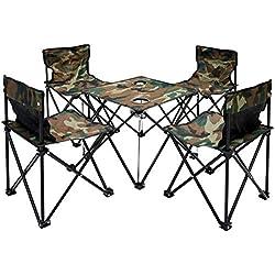 AMANKA Mesita para acampada + 4 Sillas + Bolsa de transporte 60x22x24cm | plegable ligero mini portátil | para campamento picnic festival barbacoa camping senderismo pesca playa | Camuflaje Verde