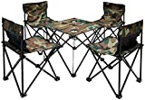 AMANKA Table de Camping + 4 Chaises + Sac de Transport 60x22x24cm | pliant léger petit portable | pour pique-nique festival grillade randonnée pêche parc | Camouflage Vert
