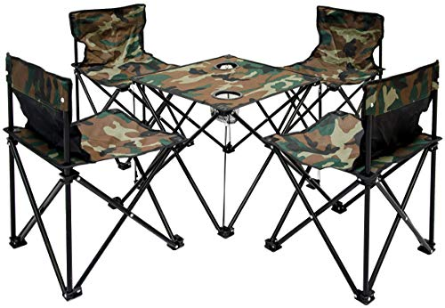 AMANKA Mesita para acampada + 4 Sillas + Bolsa de...