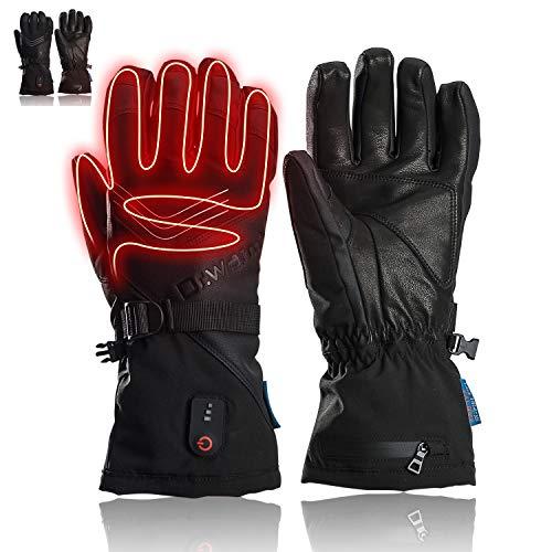 DR. WARM Beheizbare Handschuhe für Männer und Frauen, Schafsleder 7.4 2600mAhWiederaufladbare Batterie Heizhandschuhe Wasserdicht Handwärmerhandschuhe zum Skifahren,Radfahren, Motorradfahren (XXL)