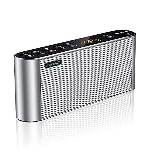 Altoparlante bluetooth radio fm, cassa bluetooth portatile, nekan speaker bluetooth wireless subwoofer con audio hd e bassi avanzati/dual driver integrato