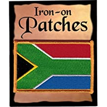 "The Flag of SOUTH AFRICA Patch parche, Superior Quality Iron-On / Saw-On Embroidered Patch parche - Each one is individually carded and sealed in a professional retail package - 3.5"" x 2.25"" Inches - Made in the USA"