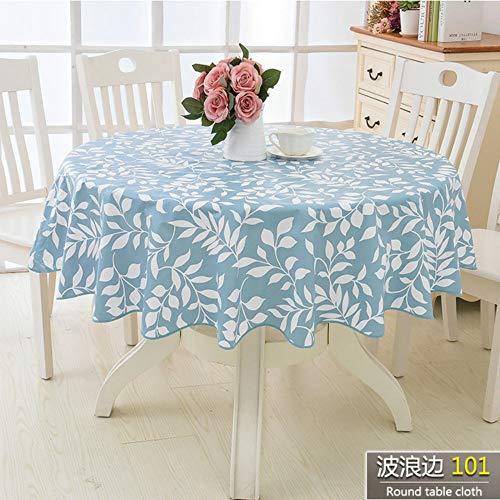 TWTIQ Blumen Stil Runde Tischdecke Pastoralen PVC Kunststoff Küchentischdecke Ölbeständig Dekorative Elegante wasserdichte Stoff Tischdecke color2 180 cm -