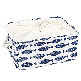 sourcingmap Canvas Fabric Storage Basket or Bin, Collapsible & Convenient Home Organization Solution for Bedroom Bathroom Dorm or Laundry,Blue Fish (Medium - 14.2 x 10.2 x 6.7 '')