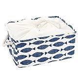 sourcingmap® Faltbare Aufbewahrungskorb Kleiderschrank Box Behälter Organizer(Blau Fisch, M)