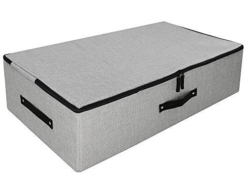 Underbed Garment Storage Basket mit Dreiseiten-Reißverschlussabdeckung, Large Size & Folding Design, Anti-Schimmel-Organizer-Container, Hellgrau (Veranstalter Schuh Schrank)